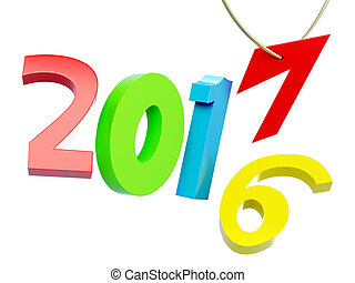 New year 2017 isolated on white background. 3d rendering