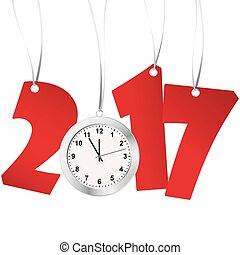 new year 2017 numbers and clock