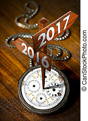 New Year 2017 - Old Pocket Watch with Signs