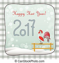 new year 2017 retro card with rooster