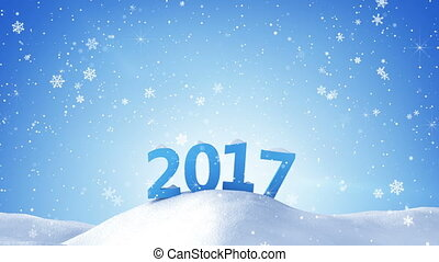 new year 2017 sign in snow drift