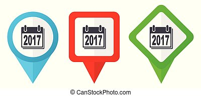 New year 2017 sign red, blue and green vector pointers icons. Set of colorful location markers isolated on white background easy to edit