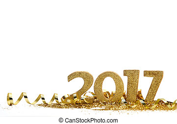 new year 2017 - golden figures 2017 on glitter and white...