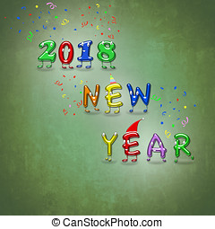New Year 2018 animated numbers. - An illustration of happy...