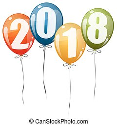 New Year 2018 balloons - colored balloons with numbers for...