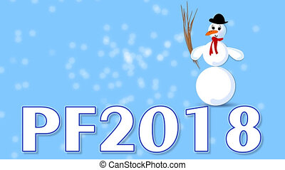 New year 2018 blue video with blurry frost sparks, slow moving snowman cartoon