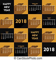 new year 2018 calendar design - creative heart shape new...