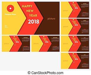 new year 2018 calendar template design
