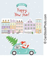New year 2018 card with coming santa to old city