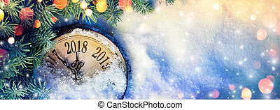New Year 2018 - Celebration With Dial Clock On Snow And...