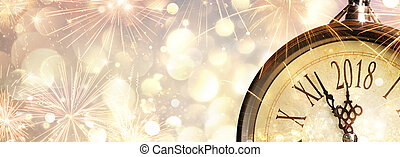 New Year 2018 Celebration With Dial Clock