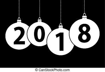 new year 2018 christmas bubbles - black background with...