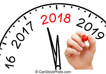 New Year 2018 Clock Concept