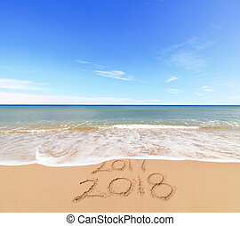 New Year 2018 coming concept - the wave is covering digits...