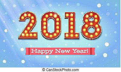 New year 2018 coming. The text in the style of American casino with glowing lights and red banner on backdrop the falling snow with rays of light, 3D illustration