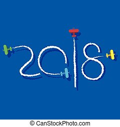 New Year 2018 concept - planes left traces in the form of...