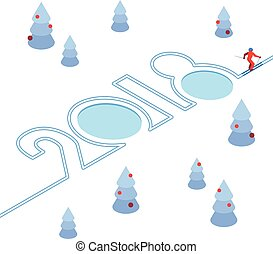 New Year 2018 concept - skier has left a trace in the form of numbers