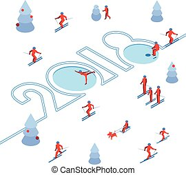 New Year 2018 concept - skier left a trace in the form of numbers.