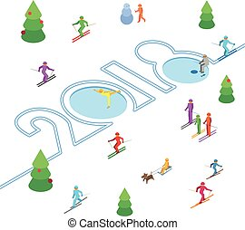 New Year 2018 concept - skier left a trace in the form of numbers