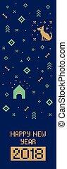 New year 2018 cross stitch dog banner. Pixel art