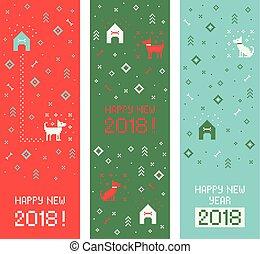 New year 2018 cross stitch dog banners. Pixel art