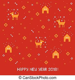 New year 2018 cross stitch greeting card with dog