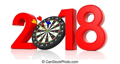 New year 2018 - darts board. 3d illustration