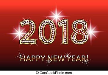 New Year 2018 golden design template.