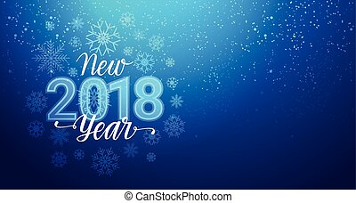 New Year 2018 Greeting Banner With Snowflakes Bokeh On Blue...