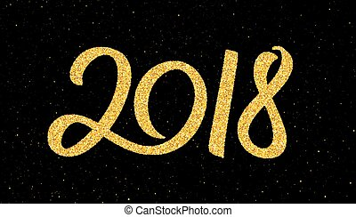 New Year 2018 greeting card with calligraphy