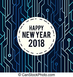 New Year 2018 Greeting Futuristic Line Art