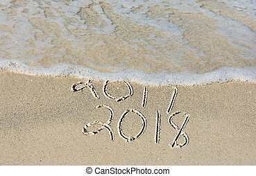 New Year 2018 in beach sand