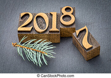 new year 2018 in wood type