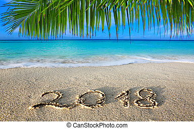 New Year 2018 Inscription written and Caribbean sea with ...