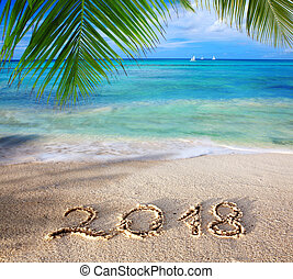 New Year 2018 Inscription written and Caribbean sea with...