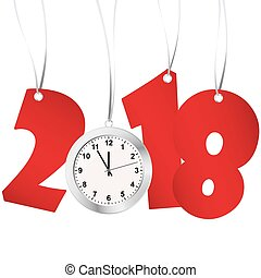 new year 2018 numbers and clock