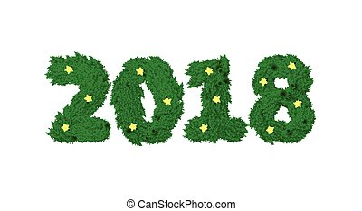 New Year 2018 of fir branch and light garland on white background. Wooden planks in shape of year number. Design element for new years day, christmas, woodworking, winter holiday, silvester, etc.