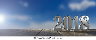 New year 2018 on a wooden floor, blue sky background. 3d illustration