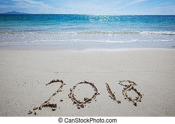 New year 2018 on beach