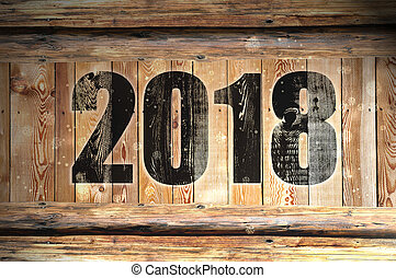 new year 2018 on wood
