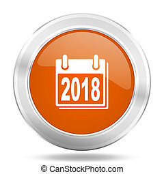 new year 2018 orange icon, metallic design internet button, web and mobile app illustration