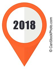 New year 2018 orange pointer vector icon in eps 10 isolated on white background.