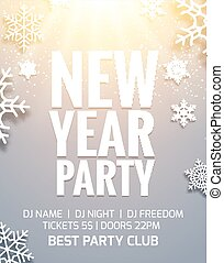 New year 2018 party poster invitation decoration design. Dance disco new year holiday template background with snowflakes