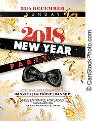New Year 2018 party promotional poster with black silk bow,...