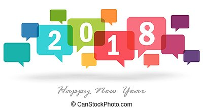 new year 2018 speech bubbles - new year greetings with...