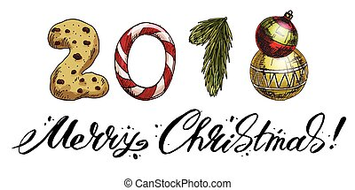 New Year 2018 . Winter card with candies, biscuit, spruce branch and a Christmas tree toys. Vector image. Merry Christmas lettering