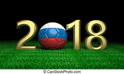 New year 2018 with Russia flag soccer football ball on grass, black background. 3d illustration