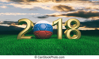 New year 2018 with Russia flag soccer football ball on grass, blue sky background. 3d illustration
