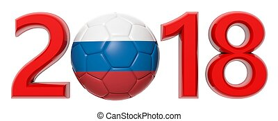 New year 2018 with Russia flag soccer football ball on white background. 3d illustration