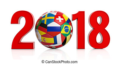 New year 2018 with Russia soccer football ball isolated on white background. 3d illustration